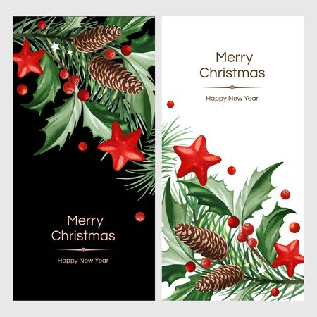 Vertical banners with text and Christmas decoration - Holly leaves and Christmas tree with cones on black and white backgrounds.