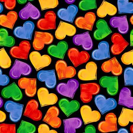 Bright seamless pattern with colorful hearts on black background. Çizim