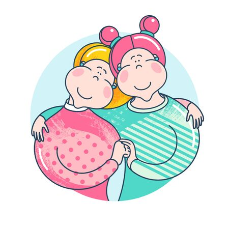 Happy couple of women on white background. Equality in rights illustration. Attractive cartoon characters.