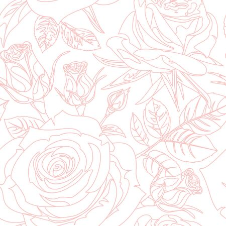 Seamless pattern with pink realistic linear Roses on white background. Hand drawn floral repeat ornament of blossoms in sketch style. Usable for wrapping paper, covers, textile. 向量圖像