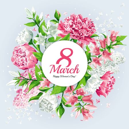 8 March Women's Day greeting card template. Watercolor style with lettering design. Pink and white flowers: Peonies, Lilacs and Campanulas, isolated on light background.