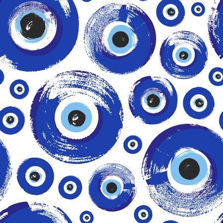 Seamless Pattern with hand drawn Turkish eye. Symbol of protection Turkey, Greece, Cyprus, Crete. Background with magic items, attributes. Amulet - blue Turkish Fatima's Eye. 向量圖像