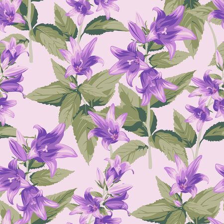 Seamless pattern with purple Campanula - flowers, isolated on light background. Hand-drawn illustrations.