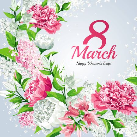 8 March Women's Day greeting card template. Watercolor style with lettering design. Frame with Pink and white flowers: Peonies, Lilacs and Campanulas, isolated on light background.