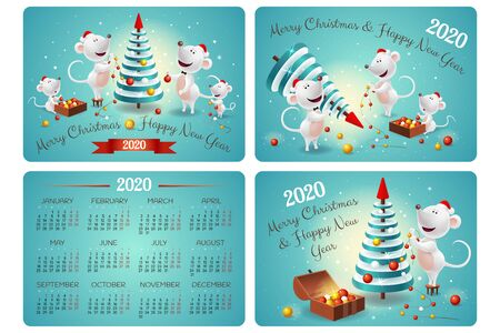 Pocket Calendar with symbols of 2020 new year - family of white rats or mouses, christmas tree and decor on blue background. Merry Christmas illustration.
