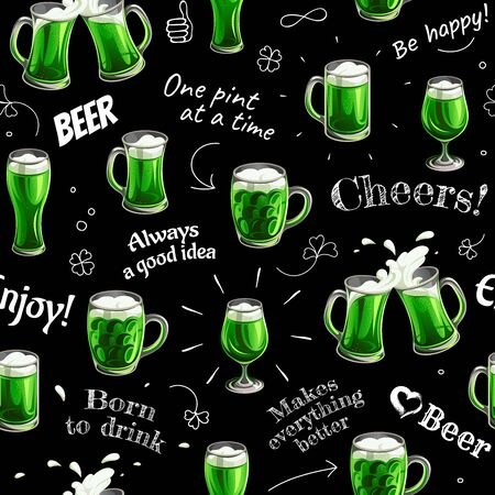 Saint Patrick's day. Seamless pattern - texts, Clover and glass toasting mugs with green beer on black background.