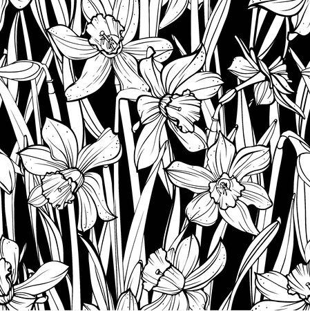 Seamless floral pattern on black background. Hand-drawn flowers - Daffodil. Ilustração