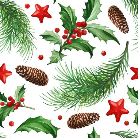 Seamless Pattern with Christmas Symbol - Holly Leaves, Christmas Tree with Cones and Stars on White Background. Vektorové ilustrace