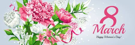 Horizontal 8 March Women's Day greeting card template. Watercolor style with lettering design. Pink and white flowers: Peonies, Lilacs and Campanulas, isolated on light background.