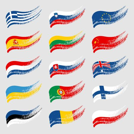 Hand-drawn flags of the world on light background.