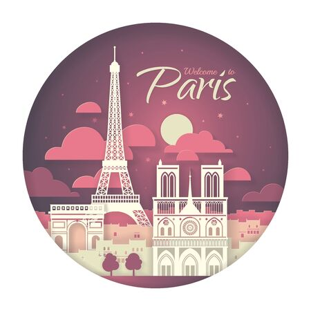 France. Paris with the symbols of the city - Eiffel Tower, Triumphal Arch, Notre Dame Cathedral. Papercut style poster.  イラスト・ベクター素材