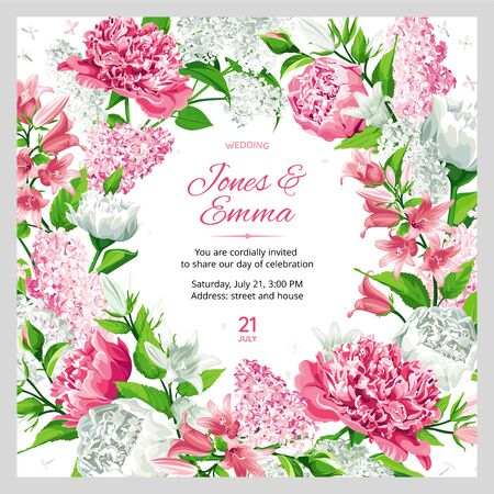 Wedding invitation. Frame with text and flowers - pink and white Rose, Peony, Campanula and Lilac isolated on white Background. Vettoriali