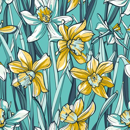 Seamless floral pattern on blue background. Hand-drawn yellow and white linear flowers - Daffodil.