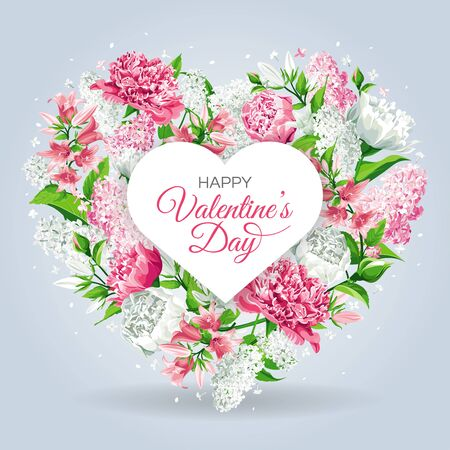 Valentine's Day greeting card template. Frame with heart, pink and white flowers. Roses, Peonies, Lilacs, Campanulas and text isolated on light background.