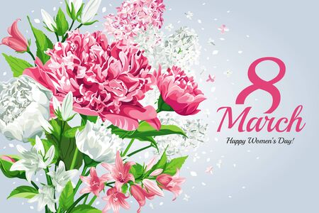 Horizontal 8 March Women's Day greeting card template. Watercolor style with lettering design. Frame with Pink and white flowers: Peonies, Lilacs and Campanulas, isolated on light background.