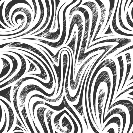 Abstract seamless pattern with linear waves. Grunge style. Black and white background. Can be used as swatch for illustrator. Illusztráció