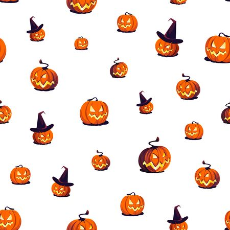 Seamless Halloween Pattern with Pumpkins on white background.