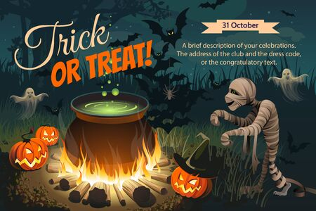 Halloween illustration. Horizontal banner with pumpkins, bonfire, mummy and others festival caracters on night background. Autumn landscape.