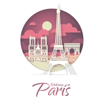 France. Paris with the symbols of the city - Eiffel Tower, Triumphal Arch, Notre Dame Cathedral. Papercut style poster. Vectores