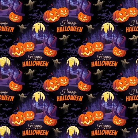 Happy Halloween illustration with pumpkins and castle on the black background. Seamless pattern.