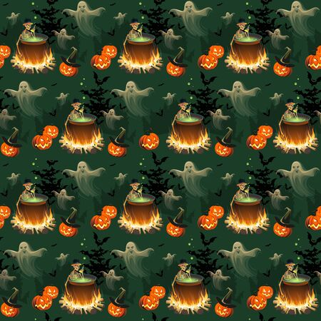 Seamless Halloween pattern with pumpkins, skeletons, ghosts and bonfires on black background. Vecteurs