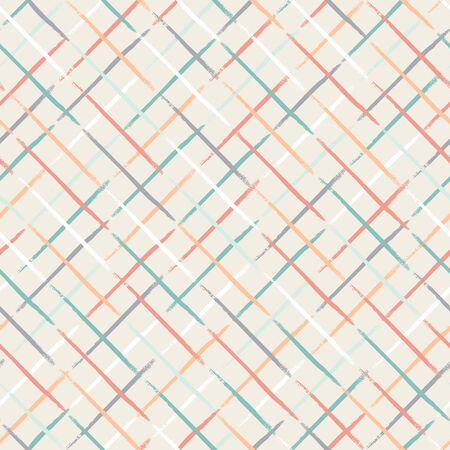 Seamless striped pattern with diagonal lines isolated on white background. Hand drawn illustration. Monochrome texture. Colorful grid. Illustration