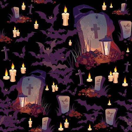 Seamless Halloween pattern with graves, bats, candles and lanterns on black background.