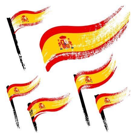 Set of national symbols - grunge flags of Spain isolated on white background. Hand-drawn illustration. Flat style. Illustration