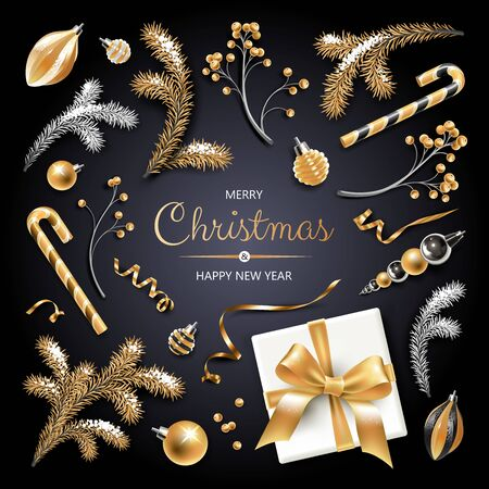 Set of Christmas symbols - gold and silver Fir branches, berries, decoration, ribbons, gift and other festive elements on black background.