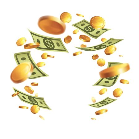 Banner with money - bank notes and gold coins isolated on white background. Illustration with place for text. Frame - swirl of bills.