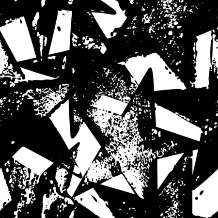 Seamless pattern with black hand drawn vector stars in doodle style isolated on white background. Illustration