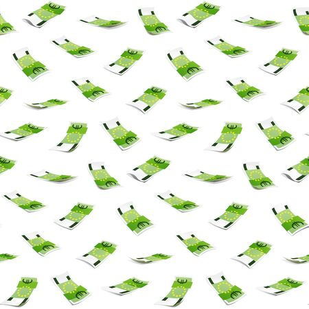Seamless pattern with money isolated on white background. One hundred Euro banknote. Illustration