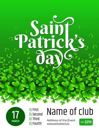 Banner - Saint Patrick's day. Illustration with text and green Clover on gradient background.