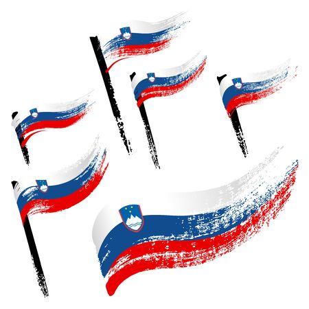 Set of national symbols - grunge flags of Slovenia isolated on white background. Hand-drawn illustration. Flat style. Illustration
