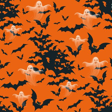 Seamless Halloween pattern with black bats and ghosts isolated on orange background.