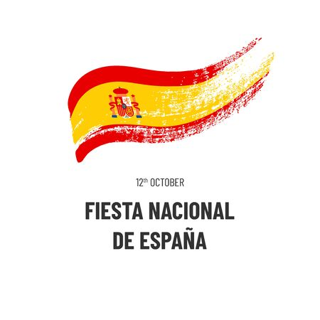 National Holiday Of Spain. October 12. Text and hand-drawn symbol of country - flag isolated on white background. Illustration in Spanish. Illustration