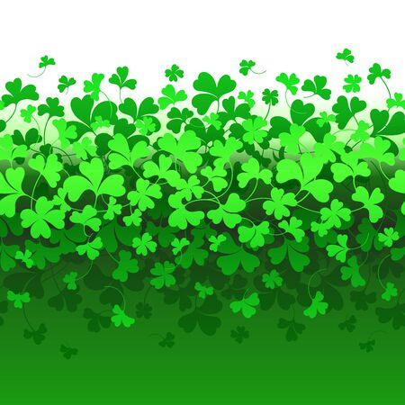 Seamless horizontal border with green Clover. Background for St. Patrick's Day.