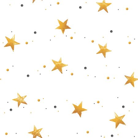 Seamless pattern with gold hand drawn vector stars in doodle style isolated on white background.