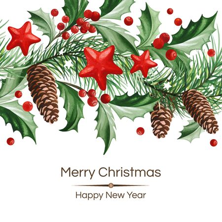 Banner with Christmas decoration - Holly leaves and stars on white background.
