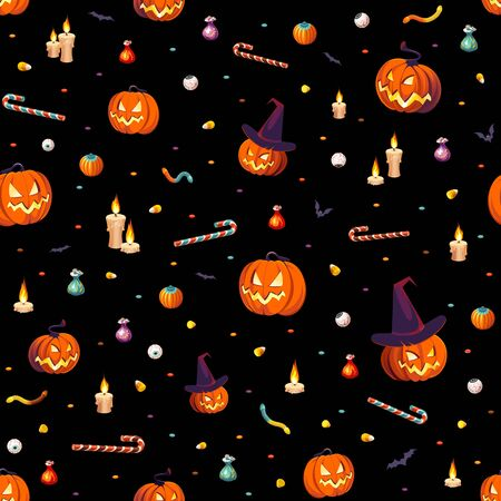 Seamless Pattern - bags of colorful Halloween sweets for children: candy, chocolate, jelly isolated on dark background. Illustration