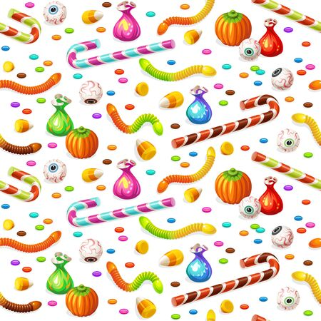 Seamless pattern with colorful Halloween sweets for children: candy, chocolate, jelly isolated on white background.