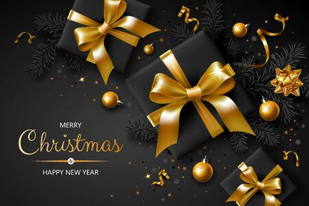 Horizontal banner with gold Christmas symbols and text. Christmas tree, gifts, balls, ribbons and other festive elements on black background.