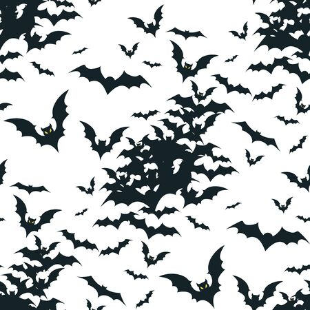 Seamless Halloween pattern with black bats isolated on white background.