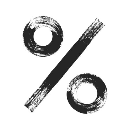 Percent sign icon. Hand drawn style. Black illustration isolated on white background. Illustration