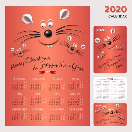 Pocket and wall calendar with symbols of 2020 new year - family of white rats or mouses, christmas tree and decor on blue background. Merry Christmas illustration.