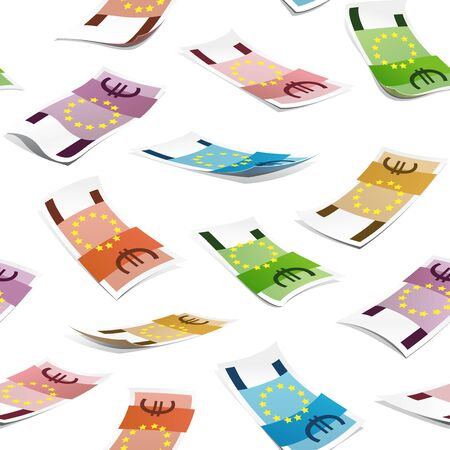 Seamless pattern with money isolated on white background. Euro banknotes.
