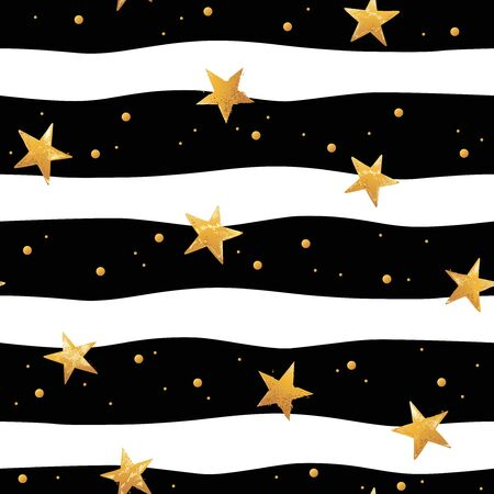 Seamless striped pattern with gold hand drawn vector stars in doodle style isolated on black and white background. Illustration