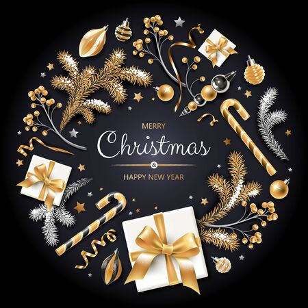 Wreath with gold and silver Christmas tree, berries, decoration, ribbons, gifts and other festive elements on black background.