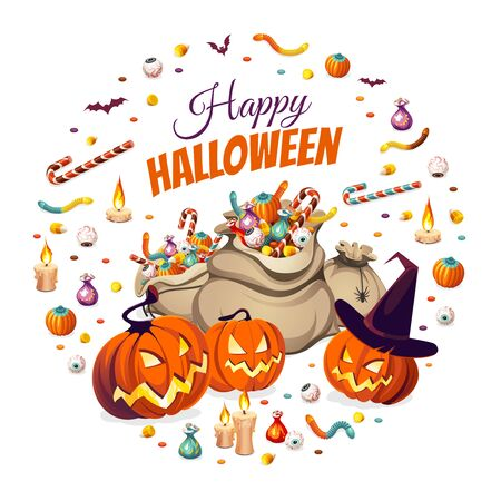 Banner with pumpkins and bags of colorful Halloween sweets for children: candy, chocolate, jelly isolated on white background. Illustration