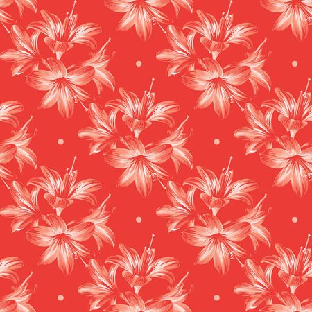 Seamless floral pattern with realistic coral flowers - Hippeastrum or Amaryllis on red background. Illustration